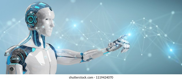 White man robot on blurred background using digital network connection 3D rendering