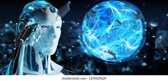 White man robot on blurred background creating energy ball 3D rendering