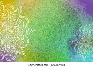 White Mandalas on a gradient background of turquoise, purple, gold and green