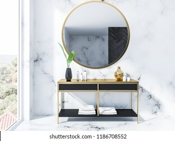 White marble bathroom interior with a round mirror above a black vanity unit with creams and candles and a loft window 3d rendering