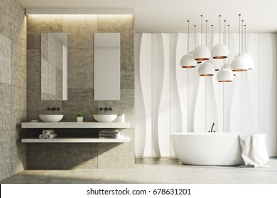 White and marble bathroom interior with a wavy wall pattern and two sinks standing on a marble shelf with two narrow mirrors above them. 3d rendering mock up