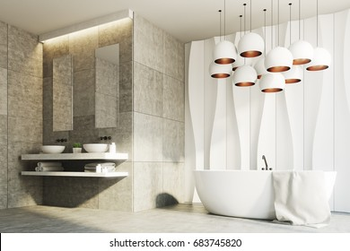 White and marble bathroom interior with a wavy wall pattern and two sinks standing on a marble shelf with two narrow mirrors above them. Side view. 3d rendering mock up