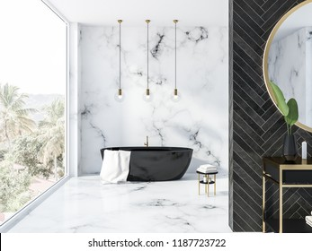 White marble and black wood bathroom interior with a black bathtub, a round mirror above a black vanity unit and panoramic window. 3d rendering