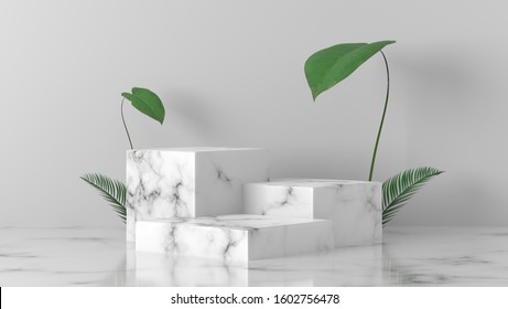 white Marble cube, square box podium with palm leaves in white background. concept scene stage showcase for new product, promotion sale, banner, presentation, cosmetic. with copy space - 3D rendering