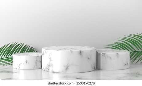 White marble cylinder podium in white background. concept scene stage showcase for new product, promotion sale, banner, discount, presentation, cosmetic, ranking, offer. copy space. 3D rendering