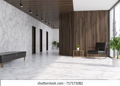 White marble and dark wooden elevator hall in an office with a panoramic window. There are three black doors in the wall and a brown armchair. 3d rendering mock up