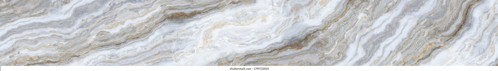White marble pattern with curly grey and gold veins for ceramic tiles design. Abstract texture and background. 2D illustration