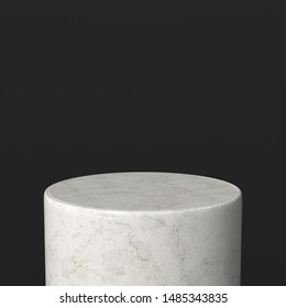 White marble product stand. Pedestal. 3d render