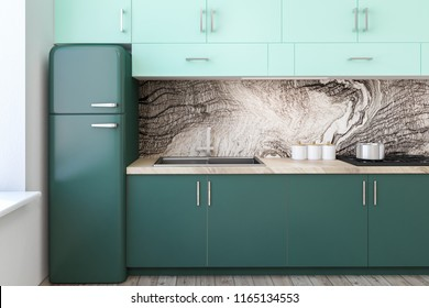 White and marble wall kitchen interior with a wooden floor, green closets and countertops, and a fridge. Close up 3d rendering mock up