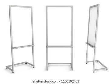 White marker board. 3d illustration set. Isolated on white