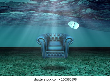White Mask and armchair floats in underwater desert