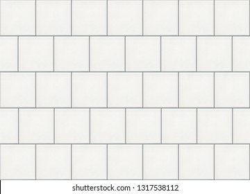 White matte square ceramic wall mosaic tiles with black seams background.