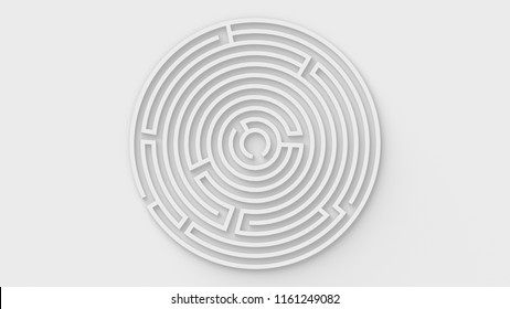 White Maze / Labyrinth in Round Shape - 3D Illustration