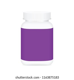 white medicine bottle and purple label, bottle plastic white packaging single blank for template design white background, package bottle packing pill, medicine, vitamin, drug tablet, supplement