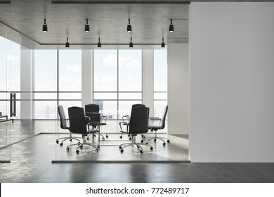 White meeting room interior with a concrete floor, panoramic windows, and a long table with chairs. A wall. 3d rendering mock up