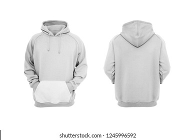 White Men Hoodie Front and Back view. 3D rendering