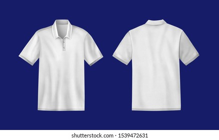 White mens t-shirt template mockup, Front and back, Realistic illustration isolated on Blue background.