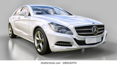 White Mercedes Benz CLS Coupe on a gray background. 3d rendering.