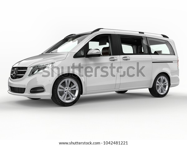 White Mercedes-Benz V-class on a white background. Three-dimensional raster illustration. 3d rendering.