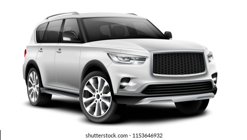 White Metallic Generic SUV Car. Off Road Crossover With Glossy Surface On White Background Perspective View With Isolated Path