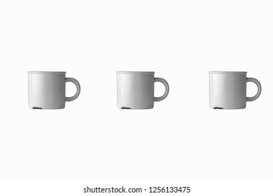 white metallic tea cup with white background  3d illustration 3d rendering