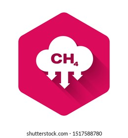 White Methane emissions reduction icon isolated with long shadow. CH4 molecule model and chemical formula. Marsh gas. Natural gas. Pink hexagon button