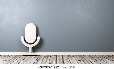 White Microphone 3D Symbol Shape on Wooden Floor Against Blue Gray Wall with Copy Space 3D Illustration, Domotics Concept