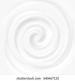 White milk, yogurt, cosmetics product swirl cream illustration. Mousse whirlpool and vortex background