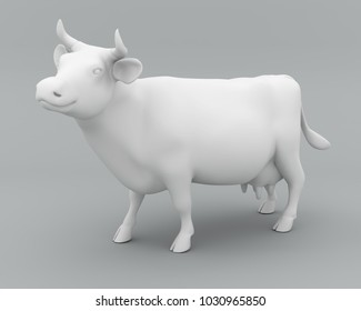 White milky cow. Clipping path included. 3D illustration