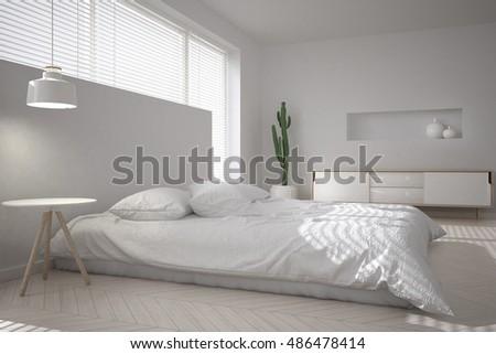 White Minimal Bedroom, 3d Illustration