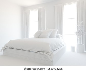 White minimalist bedroom interior with double bed on a wooden floor, decor on a large wall, white landscape in windows with curtains. Home nordic interior. 3D illustration