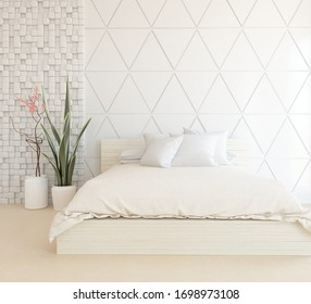 White minimalist bedroom interior with double bed, vases on a wooden floor, decor on a large wall, white landscape in window. Home nordic interior. 3D illustration