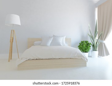 White minimalist bedroom interior with double bed on a wooden floor, decor on a large wall, white landscape in window. Home nordic interior. 3D illustration