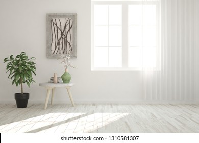 White minimalist empty room in hight resolution. Scandinavian interior design. 3D illustration