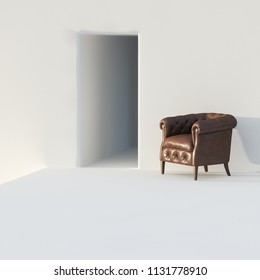 White minimalist interior with brown leather vintage armchair 3D render