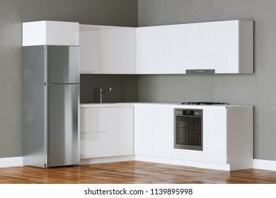 White minimalist kitchen in interior with wooden parquet floor 3D render