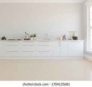 White minimalist kitchen room interior with dinning furniture on a wooden floor, decor on a large wall, white landscape in window. Home nordic interior. 3D illustration