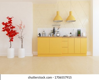 White minimalist kitchen room interior with orange dinning furniture on a wooden floor, decor on a large wall, white landscape in window. Home nordic interior. 3D illustration