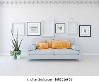 White minimalist living room interior with sofa on a wooden floor, frames on a large wall, white landscape in window. Home nordic interior. 3D illustration