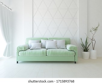 White minimalist living room interior with sofa, vases on a wooden floor, decor on a large wall, white landscape in window with curtains. Home nordic interior. 3D illustration