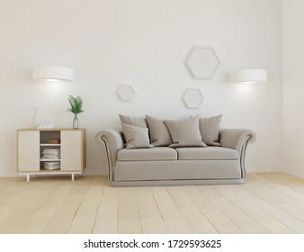 White minimalist living room interior with sofa, dresser on a wooden floor, decor on a large wall, white landscape in window. Home nordic interior. 3D illustration