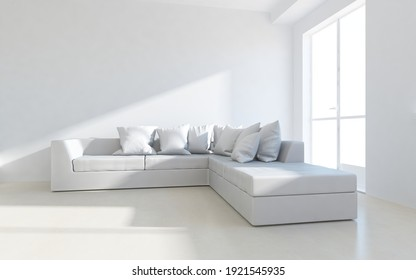 White minimalist living room interior with sofa on a wooden floor, decor on a large wall. White landscape in window. Home nordic interior. 3D illustration