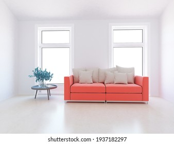 White minimalist living room interior with sofa on a wooden floor, decor on a large wall, white landscape in windows. Home nordic interior. 3D illustration