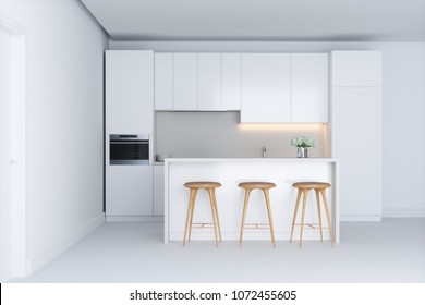 White minimalistic kitchen 3d render