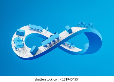 White Mobius strip with office furniture over blue background. Concept of corporate life and routine. 3d rendering