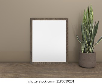 White mock up empty frame, 3d rendering