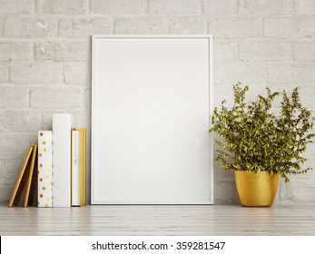 white mock up frame, hipster background, 3d rendering