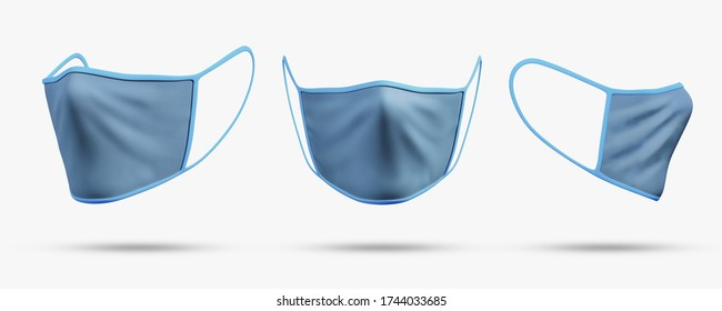 White mockup protective face, surgical earloop or medical mask. Protect coronavirus and infection. isolated on white background with clipping path. Doctor mask different viewing angles. 3D rendering.