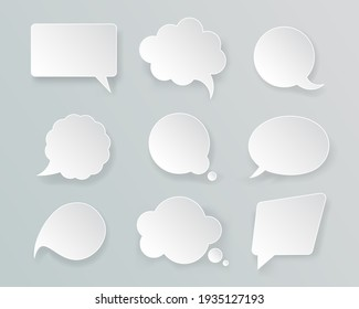 White Mockup Retro Speech Bubbles Set Empty Template on a Grey. illustration of Mock Up Bubble