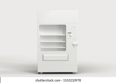The white model of vending machine with white background, 3d rendering. Computer digital drawing.